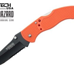 "Wartech 7"" Regular Non-Assisted Zombie Pocket Knife, Black Blade, Neon Orange Plastic Handle"
