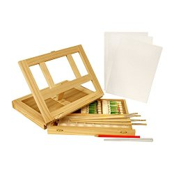 Us Art Supply Wood Easel Box Set With 12 Colors, Canvas, 2-Brushes, Plastic Palette & Palette Knives (Acrylic Paint Kit)