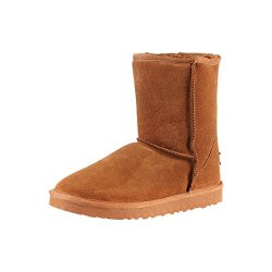 Milanao Women'S Warm Wool Classic Mid Calf Snow Boots(Chestnut,7 B(M) Us)