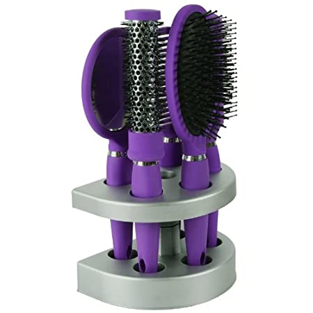 This Salon Styler five piece salon quality hair brush set includes 1 x Vent Brush, 1 x Paddle Brush, 1 x Curling Brush, 1 x Comb, 1 x Mirror and 1 x Silver Stand to keep everything neat and tidy. This hair brush set is suitable for everyone, whet...