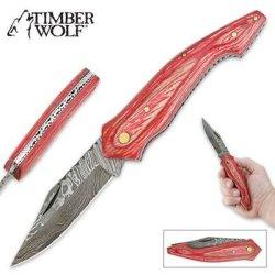 Timber Wolf Exotic Pale Pink Pakkawood & Damascus Steel Folding Pocket Knife