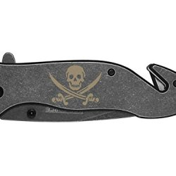 Skull Swords Jolly Roger Engraved Tac-Force Tf-811Sb Speedster Model Folding Pocket Knife By Ndz Performance