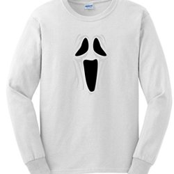 Spooky Ghost Face Long Sleeve T-Shirt Medium White