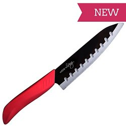 Chefs Knives - New With Serrated Edge - Great Addition For Your Knife Blocks - Ideal Kitchen Utility Tool For Vegetable, Seafood, Sashimi, Fillet - Japanese Classic Santoku Design - Shiny Black Mirror Finish Ceramic Blades