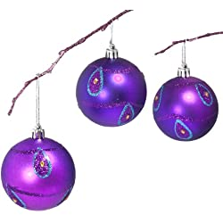 Perfect Holiday Handpainted 3-Piece Shatterproof Christmas Ornament Set, 2.75-Inch, Purple Matte Ball with Peacock and Acrylic Diamond