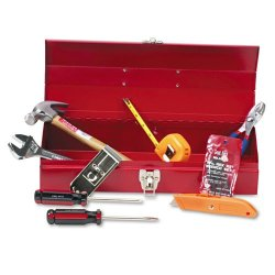Great Neck 16-Piece Light-Duty Office Tool Kit In 16 Metal Box, Red - Includes One Hammer, One #4 Phillips Screwdriver, One 4-In Standard Screwdriver, One Pair Of 6-In Slip-Joint Pliers, One 8-In Adjustable Wrench, One 10-Ft Tape Rule, One 9-Position Util