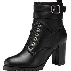 Guciheaven Women Winter New Style Keep Warm Elegant Buckle Rough Heel(7 B(M)Us, Black)