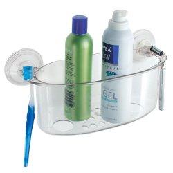 Interdesign Power Lock Suction, Large Shower Basket, Clear