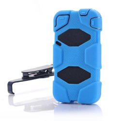 Meaci® Iphone 4/4S 4 In 1 Blue Defender Body Armor With Tpu Clip Against Shocks Hard Case