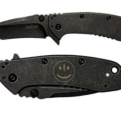 Smiley Face Bullet Hole Engraved Kershaw Cryo Ii Tanto Blackwash 1556Tbw Folding Speedsafe Pocket Knife By Ndz Performance