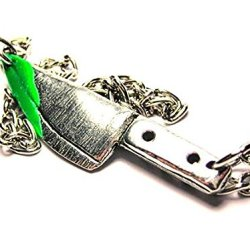 """Zombie Hunter Knife With Green Zombie Blood Statement 18"""" Fashion Necklace"""