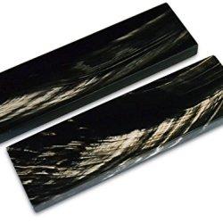 Black Scales Handle Buffalo Horn Handles Knife Making Blanks Blades Knives Pair 5 Inch For Custom Handles