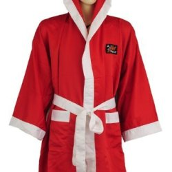 Playwell Boxing Gown 100% Satin Full Length - Red - Small