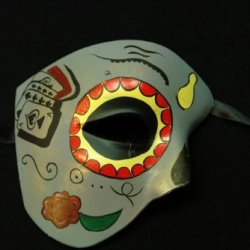 Grey Half Face Mexican Sugar Skull Hand-Painted Paper Mache Mask