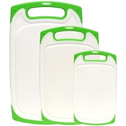 Dishwasher Safe Plastic Cutting Board Set With Non-Slip Feet And Deep Drip Juice Groove. Acrylic Polypropylene White With Lime Green A Beautiful 3 Piece Set By Dutis Kitchenware
