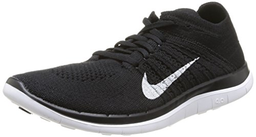 Nike Free 4.0 Flyknit, Herren Sportschuhe, Schwarz (Black/White-Dark Grey), 47.5 EU