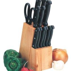 Kittamor 12-Piece 18/8 Stainless Steel Knife Set Plus Hardwood Block