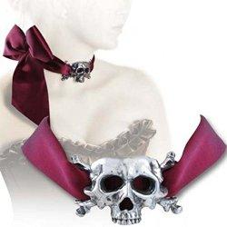 Alchemy Gothic `I Dieth` Skull Ribbon Necklace
