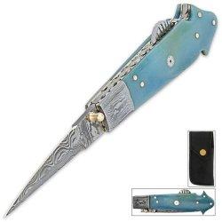 Timber Wolf Blue Bone Mosaic Ladder Pocket Knife