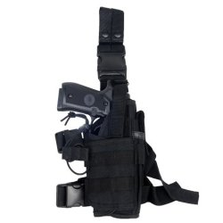 Armstac® Tornado Drop Leg Holster [S5] Tactical Pistol Holster With Quick Detach Buckle Clips, Double Adjustable Leg Straps, Single Magazine Pouch, In Black Color + Armstac® Lifetime Warranty & Tech Support