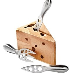 Cheese Wedge Block Set, Stainless Steel Cheese Knife Set Of 3 W/ Wood Block