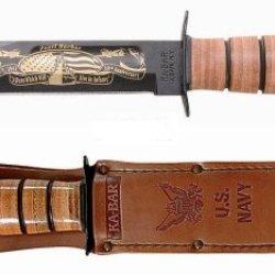 Kb9110 - Kabar Pearl Harbor Commeorative Plain Edge Knife W/ Us Navy Leather Sheath