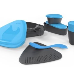 Light My Fire 8-Piece Bpa-Free Meal Kit 2.0 With Plate, Bowl, Cup, Cutting Board, Spork And More (Cyan)