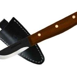Condor Tool And Knife Bushcraft Basic 2-Inch Black Blade, Walnut Handle, Leather Sheath
