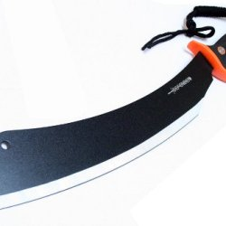 "21"" Black & Silver Machete With A Black Orange Handle & Sheath"