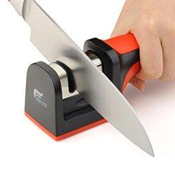 [Hds-Tek Hot Sell Product] Hds-Tek Tm Soft-Grip Handle 2 Stage Professional Knife Sharpener Best For Sharpening Kitchen,Ergonomically Design,Black