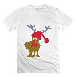 Men Funny Christmas Reindeer Graphic Art Tshirt - Nice Custom White T Shirt