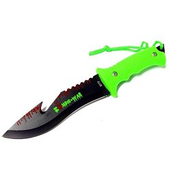 """New 9"""" Zombie-War Stainless Steel Hunting Knife With Neon Green Handle Fish Hook Blade 8272"""