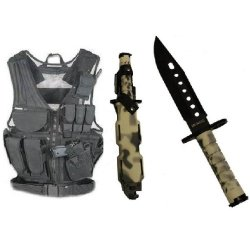 Ultimate Arms Gear Stealth Black Lightweight Edition Tactical Scenario Military-Hunting Assault Vest W/ Right Handed Quick Draw Pistol Holster + Urban / Snow Camo Camouflage Lightweight Cut Stealth Black M9 M-9 Military Survival Blade Bayonet Knife With T