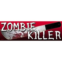 """Zombie Killer"" Bloody Knife/Machete 2"" X 6.25"" Sticker/Decal"