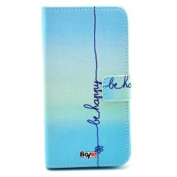 Bayke Brand / Samsung Galaxy Core Gt-I8260 I8262 Smart Phone Case Fashion Pu Leather Wallet Flip Protective Skin Case With Stand With Credit Card Slots & Holder For Samsung Galaxy Core Gt-I8260 I8262 (Be Happy Pattern Design 01)