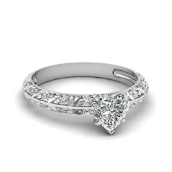 Fascinating Diamonds Crusted Knife Edge Engagement Ring Pave Set 0.70 Ct Heart Shaped Diamond E-Color Gia