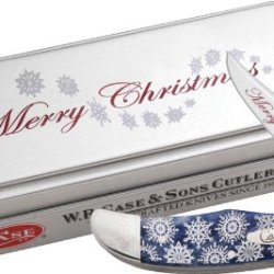 Case Xx Knives 10530 Christmas Mid Folding Hunter Linerlock Knife With Navy Blue Smooth Bone Handles