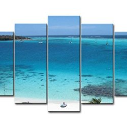 Blue 5 Piece Wall Art Painting Tobago Cays Big Beach Blue Sea A Hill On The Sea Prints On Canvas The Picture Seascape Pictures Oil For Home Modern Decoration Print Decor For Bedroom