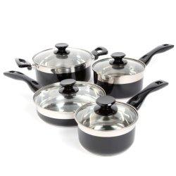 Oster 91335.08 Cramerton 8-Piece Cookware Set, Black