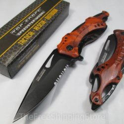 Tac Force Red/Orange Unique Design Assisted Opening Folding Knife 4.5-Inch Closed