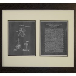 "Moulin Knife-Throwing Illusion Patent Art Chalkboard Print In A Rustic Oak Wood Frame (16"" X 20"")"