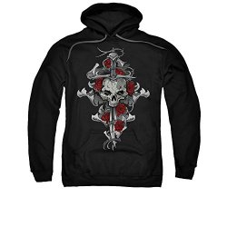 Lethal Threat Brand Apparel Graphics Skull Rose Dagger Adult Pull-Over Hoodie