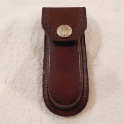 "Brown 5"" Leather Knife Sheath. Decorative Cross Snap - Case -"
