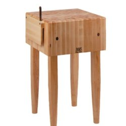John Boos Pca1 18 By 18 By 10-Inch Maple Butcher Block With Knife Holder, Barn Red Legs