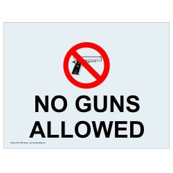 Compliancesigns Clear Vinyl Weapons Restricted Window Cling, 5 X 3.5 In. With Front Cling, 4-Pack