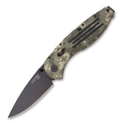 Sog Specialty Knives & Tools Ae06-Cp Aegis Knife With Straight Edge Assisted Folding 3.5-Inch Steel Blade And Grn Camo Handle, Black Tini Finish