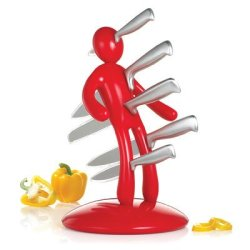 The Ex 2Nd Edition 5 Piece Knife Set With Holder Color: Red