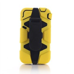 Meaci® Iphone 4/4S 4 In 1 Yellow Defender Body Armor With Tpu Clip Against Shocks Hard Case
