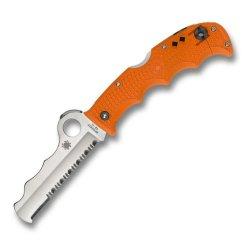 Spyderco C79Psor Folding Knife Assist Orange Frn Handle W/ Carbide Tip Comboedge