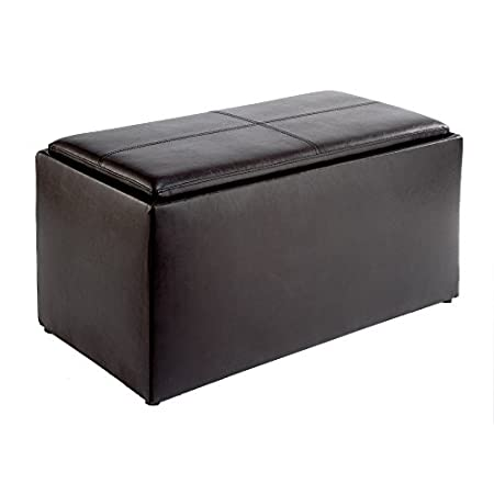 Loads of storage space with seating. Remove the top to reveal 2 side ottmans. Turn the top over to find built in hardwood serving tray with cut out handels. Convenience Concepts brings you exciting and affordable furniture. Combining exciting designs...